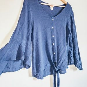 Bell sleeve top with tie at bottom